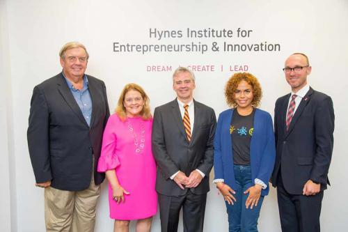 From left: James P. Hynes; Anne Marie Hynes; Iona College President Seamus Carey; Lisbeth Baez; and Christoph Winkler