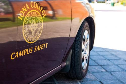 A close-up of the Iona College Campus Safety car.