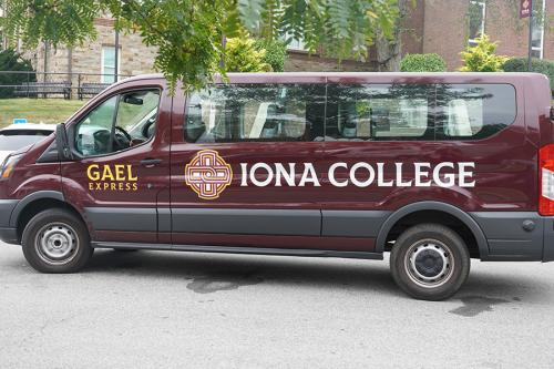 The Gael Express shuttle on campus.