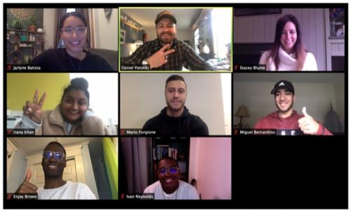 Eight people from the virtual incubator on a Zoom meeting.